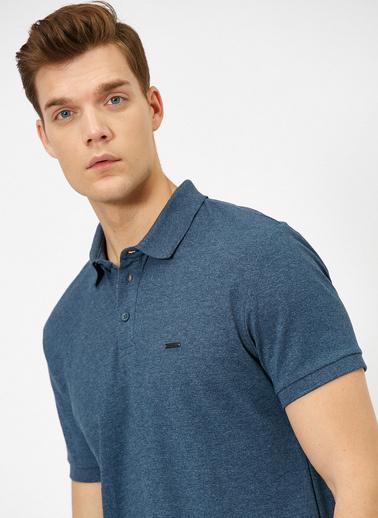Koton Polo Yaka Metal Logo Detaylı Slim Fit T-Shirt Lacivert